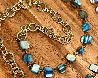 """Customized Eyeglasses Glasses Turquoise Irregular Sea Shells beads with Bronze tone Chain 31"""" length Women Mother Grandmother sister Gift"""