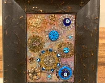 Iraqi tradition Decor Mixed Media Framed Art Allah Muslim Wall Hanging, Islamic Arabic Art Home Décor, Iraqi seven eyes Art