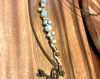 """Cowhide Leather Lanyard cord with Fancy Paris Eiffel Tower charm and green Porcelain beads Bronze tone Necklace Keys Badge ID Holder 32""""-36"""""""