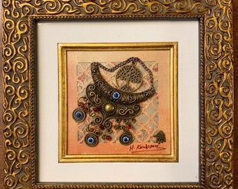 """Tree of life Framed Picture Blessed eye Iraqi Art Hamsa Good Luck Decorative Framed Picture Mixed Media About 8""""by 8"""