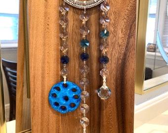 "Crystal Suncatcher Glass Blessed Evil Eye Protection wall decor hanging Rainbow  Maker 13"" Blue Sun Catcher"