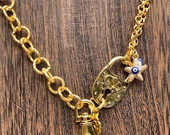 "Starfish Lanyard Keys badge holder eyeglasses Necklace with blessed eyes Key lock Chain Badge ID Holder 32""-36"" Handmade Customized"
