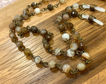 """Tiger Eyes Customized Eyeglasses Glasses Brown natural agate beads with Bronze tone Chain 29""""length for Women Mother Grandmother sister Gift"""
