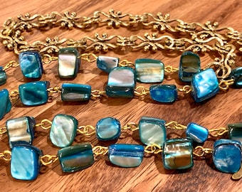 """Customized Eyeglasses Glasses Turquoise Irregular Sea Shells beads with Gold tone Chain 30"""" length for Women Mother Grandmother sister Gift"""