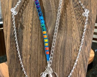 "Rainbow Lanyard Eyeglasses Necklace Blue Silver tone Chain Lanyard Badge ID Holder Keys badge holder 32""-36"" letter M charm custom initial"