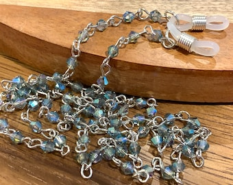 Blue Gray Small Glass Beaded Glasses Chain Silver Tone Necklace Chain for Eyeglasses, Jewelry Gift for Women, Mother Grandmother sister Gift