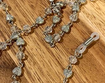 "Eyeglasses Sunglasses Holder Clear glass Beads Glasses 29""Chain hearts Silver Tone Eyeglasses Mother Grandma sister Gift Handmade customized"