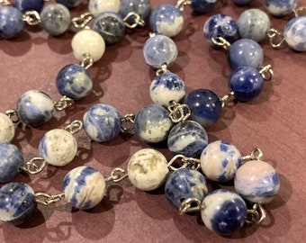 """Blue Sodalite Stone Eyes Customized Eyeglasses Glasses natural beads with Silver tone Chain 32"""" for Women Wife Grandmother Gift"""