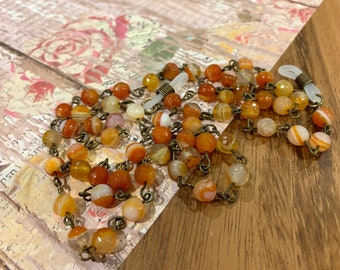 """Tiger Eyes Customized Eyeglasses Glasses Orange natural agate beads with Bronze tone Chain 31"""" length for Women Mother Grandmother Gift"""