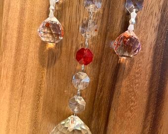 "Crystal Suncatcher Glass wall decor hanging Rainbow  Maker 13"" Red Sun Catcher"