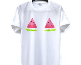 b77fae1ef0b Watermelon Shirt Fruit boob T-Shirt Drawing funny T-Shirt Clothing Shirt  O-Neck Unisex