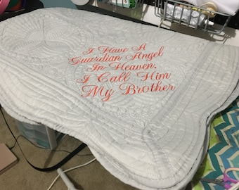 ab1fad73727 I Have a Guardian Angel in Heaven I Call Him My Brother- Baby Blanket- Baby  Quilt-Guardian Angel-Shower Gift- Baby Gift- Custom Embroidery