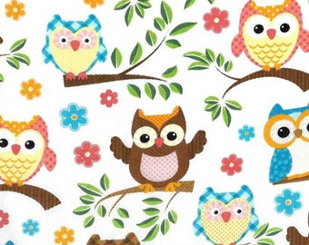 Cotton Fabric, New England Quilt, Owls on branches, Colorful owls, Whimsical Owls, By the yard, 100% cotton quilt fabric, Owls, Birds,