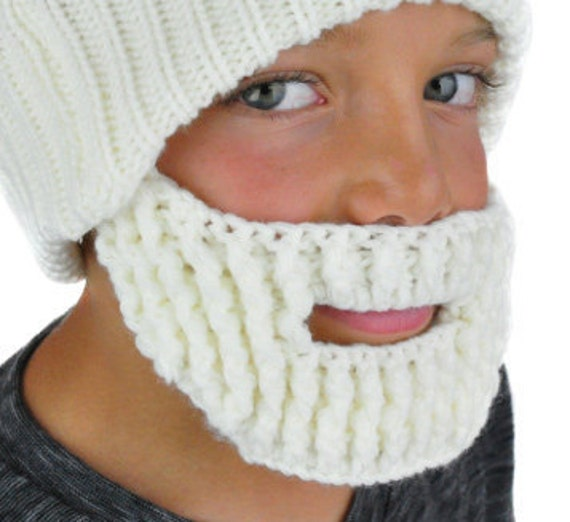 6194d40f61a Knit Beard Face Mask White Santa Beard Beard Beanie