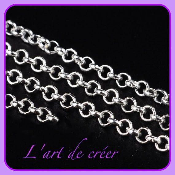 2m Chaine maille Forçat chainette Gunmetal 3 x 2mm petit maillon creation bijoux