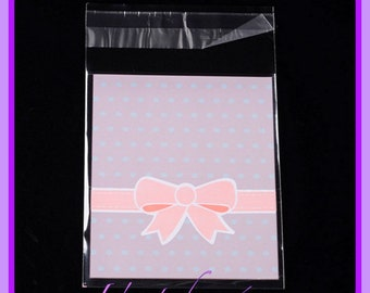 20 pouches, plastic bags with adhesive tape - size 12.5 x 8 cm, pink and white