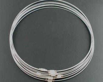 2 neck cable with steel wrapped 1 mm x 45 cm, screw clasp