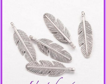 5 charms feathers, silver, silver, 30 X 9 mm