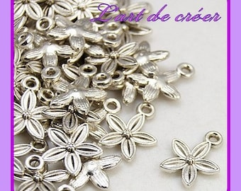 20 charm charms FLEUR, silver, silver, 14 x 11 mm charms