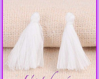 Lot of 10 POMPONS tassel gland, white, silk imitation, quick sending