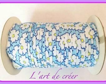 1 m of Ribbon bias Liberty cotton, 20 mm, flower, blue, white
