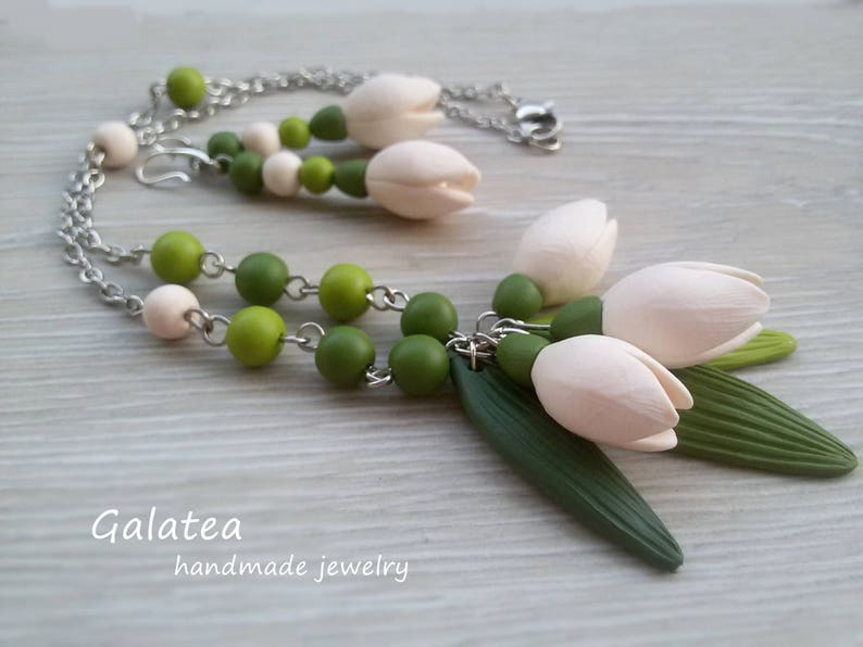 Snowdrops jewelry set Flower Girl necklace Spring White Flower jewelry Flower girl gift Bridesmaid necklace White Floral Wedding jewelry set