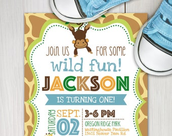 Girl Jungle Theme Birthday Invitation Girl Safari Birthday Etsy