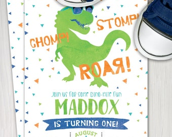 Dinosaur First Birthday Invitation T Rex Invite Boy 1st Tyranosaurus