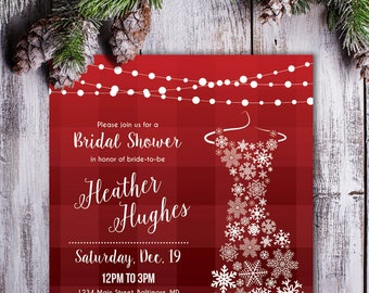 winter bridal shower invite snowflake printable invitation winter wedding christmas snowflake dress red plaid snow trees personalize