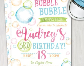 Bubble invitation etsy bubble birthday invitation bubbles invite bubble party invitation blowing bubbles printable digital file pink blue green filmwisefo
