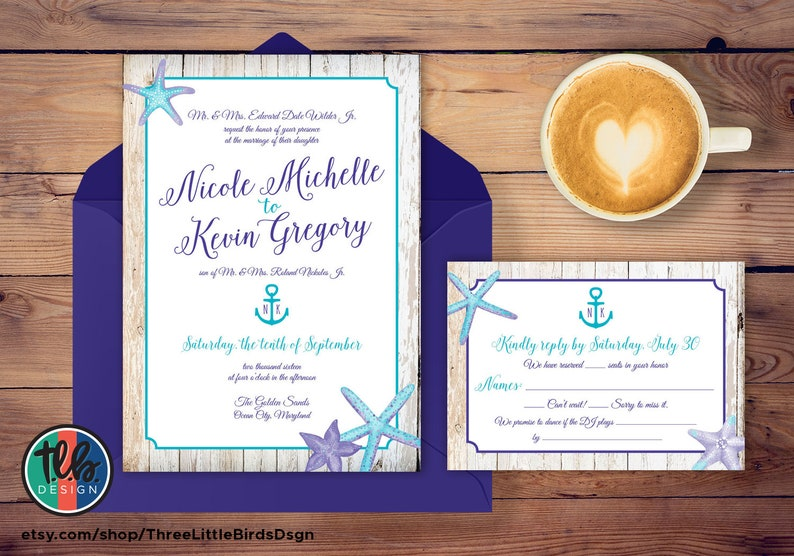 Beach Wedding Invitation Purple And Turquoise Wedding Etsy