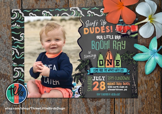 Surfs Up Birthday Invitation Invite Surfer Party