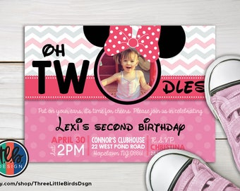 girl minnie mouse birthday invite, 2nd birthday oh toodles TWOdles printable invitation, polka dot and chevron customize personalize