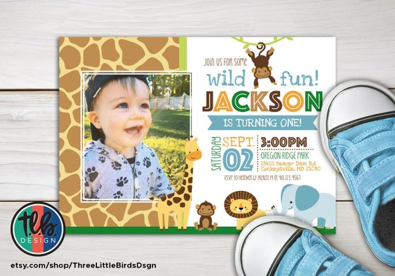Boy Jungle Theme Birthday Invitation Boy Safari Birthday Etsy