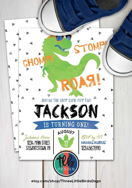 Dinosaur First Birthday Invitation t-rex birthday invite boy | Etsy