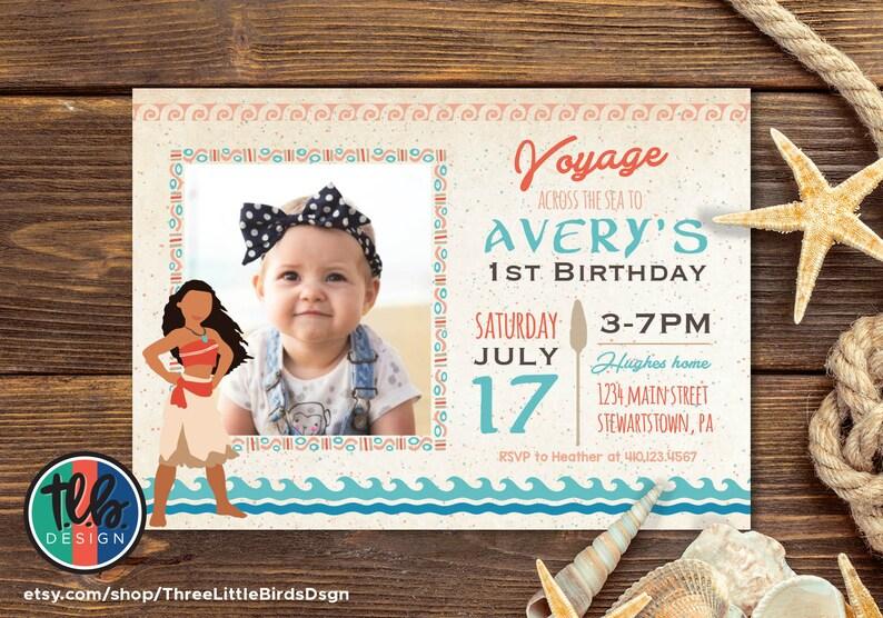 Moana Birthday Invitation Invite Girl 1st