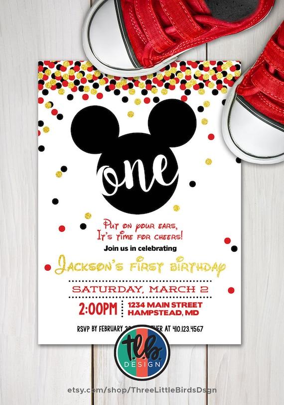 Mickey mouse first birthday invite boy 1st birthday gold etsy image 0 filmwisefo
