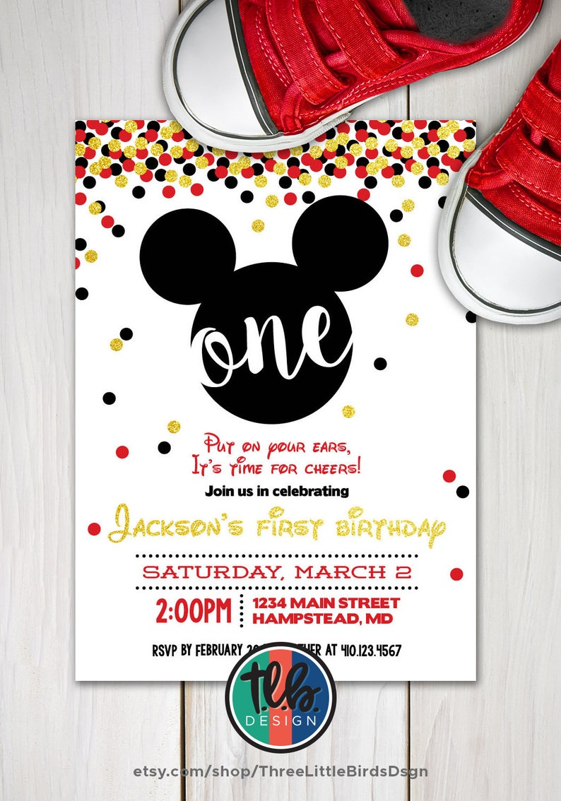 Mickey Mouse First Birthday Invite Boy 1st Gold