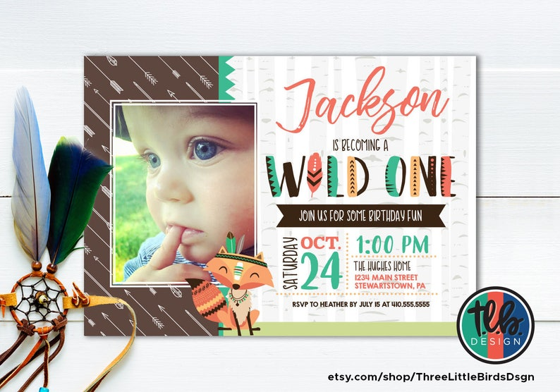 Fox Wild One Birthday Invitations First