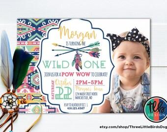 wild one tribal pattern birthday invite, boho first birthday invitation, girl 1st birthday  arrow and feathers native american theme