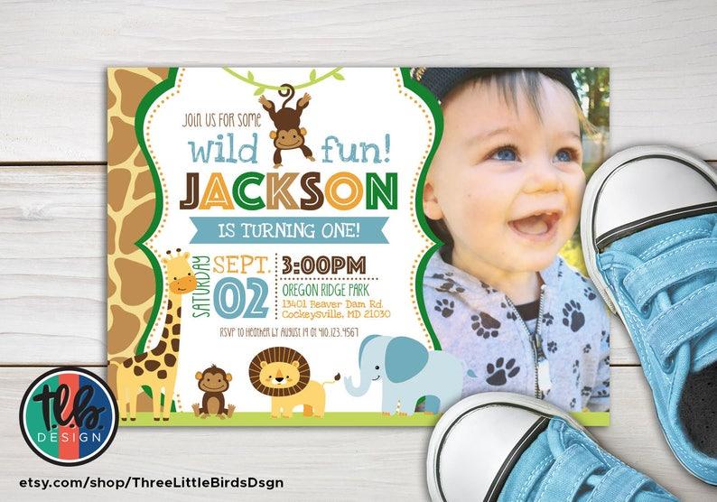 Boy Jungle Theme Birthday Invitation Safari