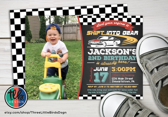 Race Car Birthday Invitation Theme Invite Toddler Personalized Printable Boy First