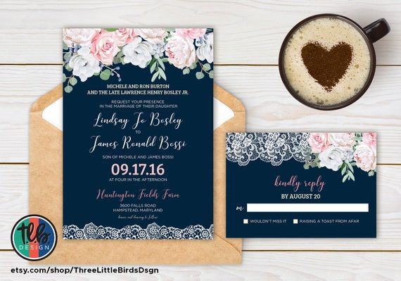 Pink And Navy Blue Wedding Invitations: Navy And Pink Wedding Invitations Rustic Chic Wedding
