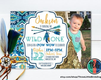 tribal 1st birthday, wild one tribal pattern birthday invite, boho birthday invitation, boy birthday  arrow and feathers native american