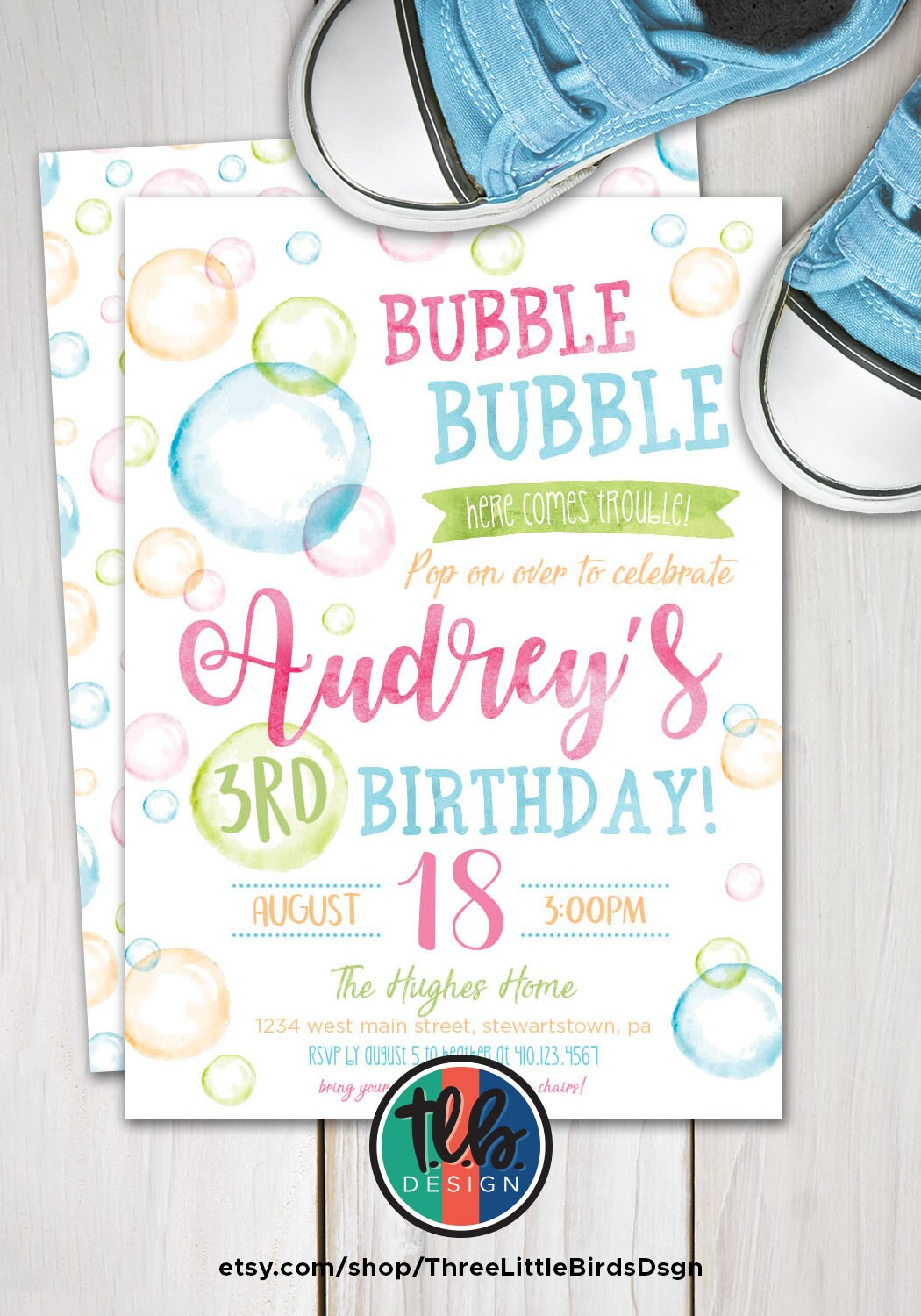 Bubble Birthday Invitation Bubbles Invite Bubble Party | Etsy