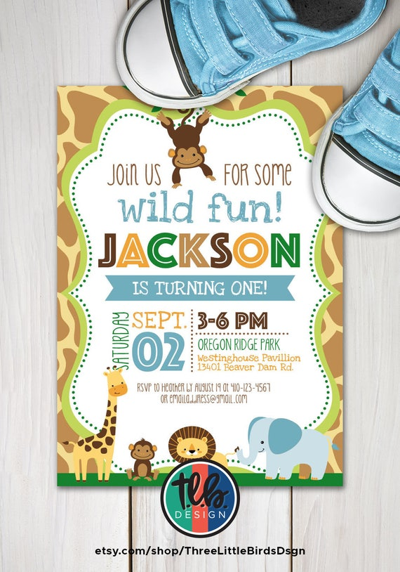 Boy Jungle Theme Birthday Invitation Safari Invite First 1st Personalized Printable