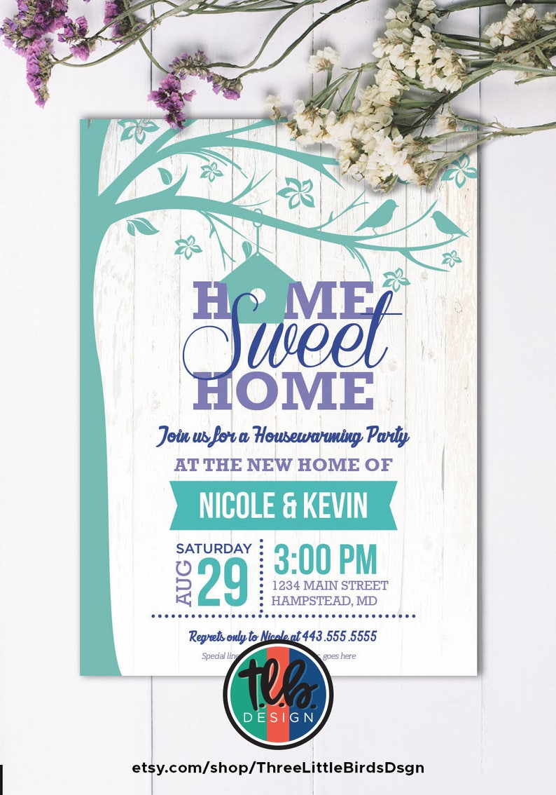 photo about Printable Housewarming Invitations referred to as printable housewarming invitation, rustic housewarming occasion invite house swet residence birdhouse teal and crimson plum personalize customise