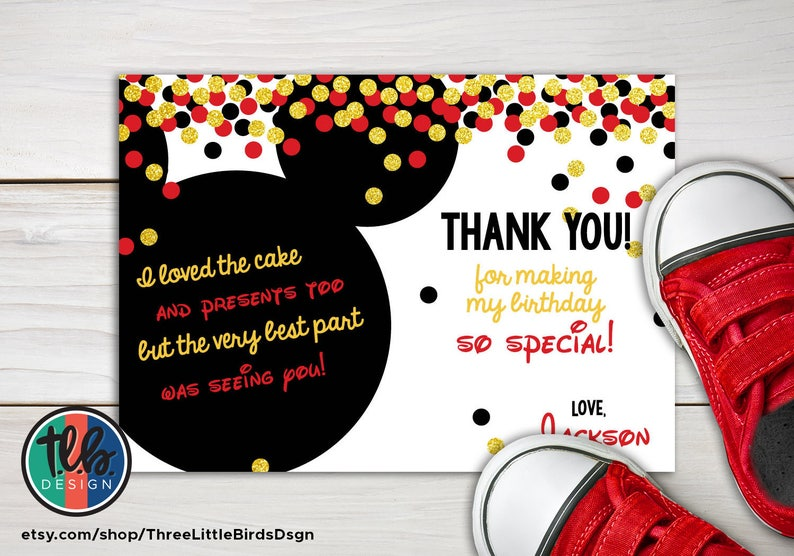 Mickey Mouse First Birthday Thank You Card Gold Glitter