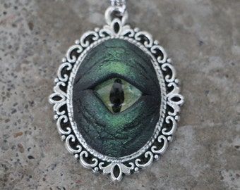 Creature Eye Pendant- Green in silver frame, hand-sculpted, hand-painted OOAK