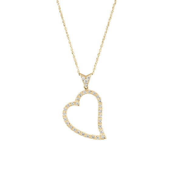 TrioStar Round Diamond 14K White Gold Plated Love Heart Pendant Valentine Gift for Her